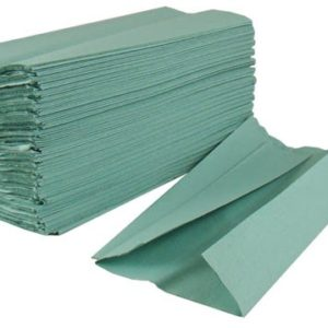 Green C-fold paper towels